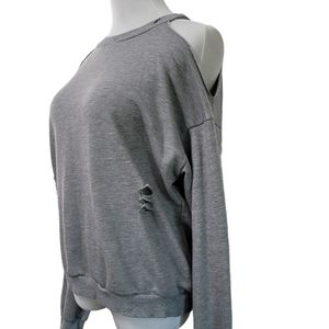 Honey Punch Distressed Sweatshirt Cold Shoulder S